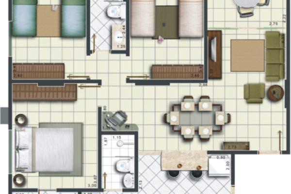 10 - Planta Apartamento Edifício 3 PA